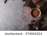 cocoa powder and chocolate bar ... | Shutterstock . vector #574042321