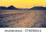 Stone Desert At Golden Hour Of...