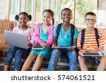 portrait of kids using a laptop ... | Shutterstock . vector #574061521