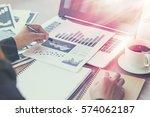 close up of woman hands using...   Shutterstock . vector #574062187