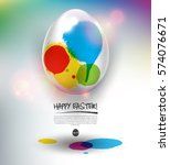 happy easter greeting card.... | Shutterstock .eps vector #574076671