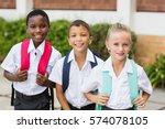 portrait of smiling school kids ...   Shutterstock . vector #574078105