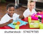 portrait of boy and girl in...   Shutterstock . vector #574079785