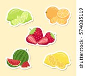 fruits set sticker. watermelon  ... | Shutterstock .eps vector #574085119