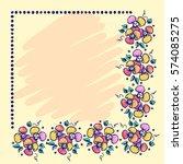 floral frame. hand drawn roses... | Shutterstock .eps vector #574085275