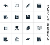 set of 16 simple knowledge... | Shutterstock . vector #574093921