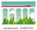 electric train crossing bridge | Shutterstock .eps vector #574097191