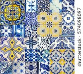 Set Of Different Blue Patterns...