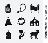 set of 9 religion filled icons... | Shutterstock .eps vector #574106251