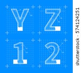 construction sketches of y z 1... | Shutterstock .eps vector #574124251