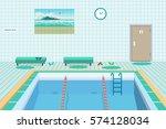 public swimming pool inside... | Shutterstock .eps vector #574128034