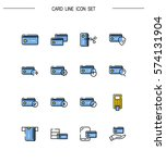 card flat icon set. collection...