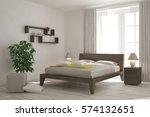 white bedroom. scandinavian... | Shutterstock . vector #574132651