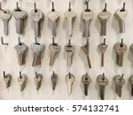 closeup of locksmith stand with ... | Shutterstock . vector #574132741