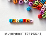 colorful english word cube on... | Shutterstock . vector #574143145