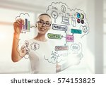 drawing a business plan . mixed ... | Shutterstock . vector #574153825