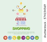 store and icons flat vector...