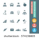 education icon set clean vector | Shutterstock .eps vector #574158805