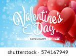 valentine's day lettering card... | Shutterstock .eps vector #574167949