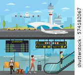 airport passenger terminal and... | Shutterstock .eps vector #574182067
