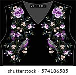 embroidery ethnic flowers neck... | Shutterstock .eps vector #574186585