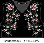 embroidery ethnic flowers neck... | Shutterstock .eps vector #574186597