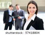 beautiful businesswoman on the... | Shutterstock . vector #57418804
