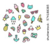 set of cute pop stickers.... | Shutterstock .eps vector #574188385