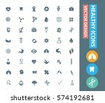 healthcare icon set clean vector | Shutterstock .eps vector #574192681