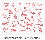 vector arrows set.doodle arrows. | Shutterstock .eps vector #574192861