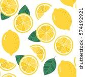 lemon seamless pattern. organic ... | Shutterstock .eps vector #574192921