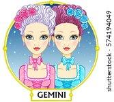 zodiac sign gemini. fantastic... | Shutterstock .eps vector #574194049