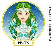 zodiac sign pisces. fantastic... | Shutterstock .eps vector #574194169