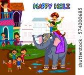 indian people celebrating... | Shutterstock .eps vector #574200685
