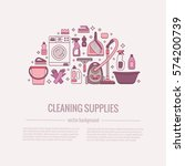 household cleaning supplies... | Shutterstock .eps vector #574200739