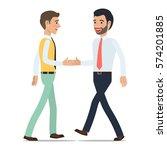 businessmen shaking hands at...   Shutterstock .eps vector #574201885