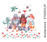 set of animals with hearts....