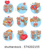 loving cartoon bears icons set. ... | Shutterstock .eps vector #574202155