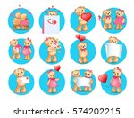 loving cartoon bears icons set. ...
