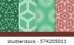 set of decorative floral... | Shutterstock .eps vector #574205011