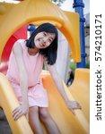 Asian Girl Play Slider In Play...