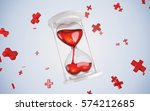 hourglass heart. red. 3d render. | Shutterstock . vector #574212685