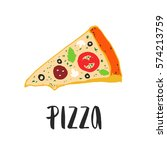 pizza lettering with hand drawn ... | Shutterstock .eps vector #574213759
