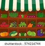 local vegetable stall. fresh... | Shutterstock .eps vector #574216744