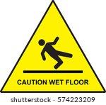 caution wet floor sign vector | Shutterstock .eps vector #574223209
