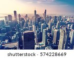 aerial view of chicago city... | Shutterstock . vector #574228669