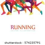 running marathon  people run ... | Shutterstock .eps vector #574235791