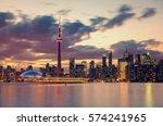 toronto city skyline at night ... | Shutterstock . vector #574241965