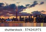 toronto city skyline at night ... | Shutterstock . vector #574241971