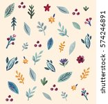 floral pattern with watercolor... | Shutterstock .eps vector #574246891